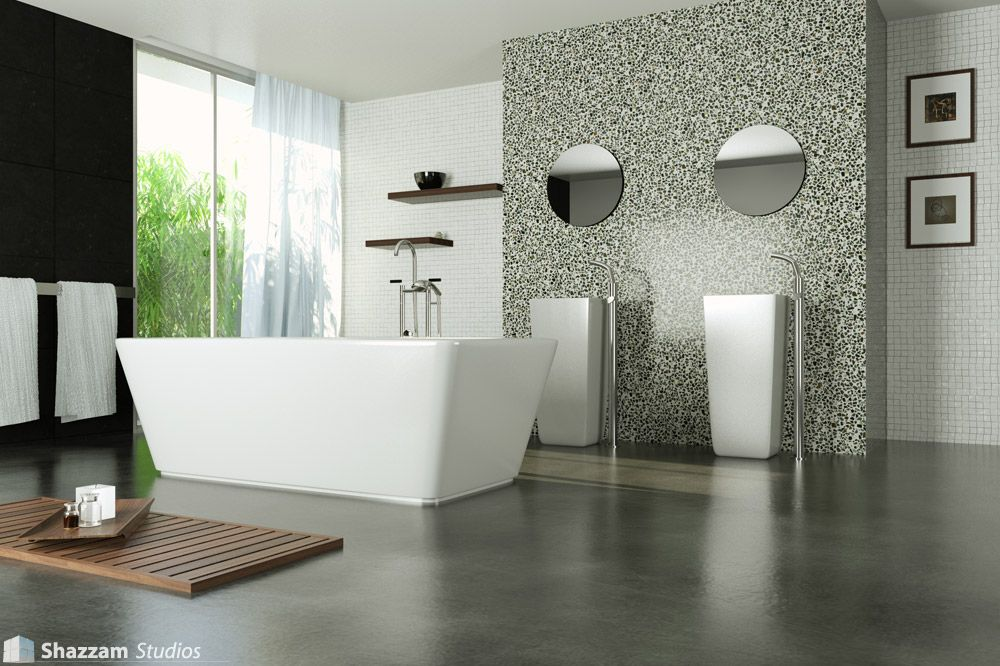 modern marble bathroom and concrete floor | Concrete – easy and ...