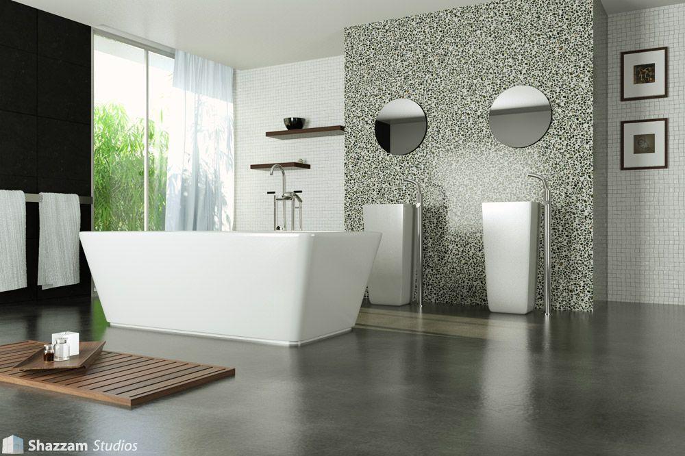 Modern Marble Bathroom And Concrete Floor