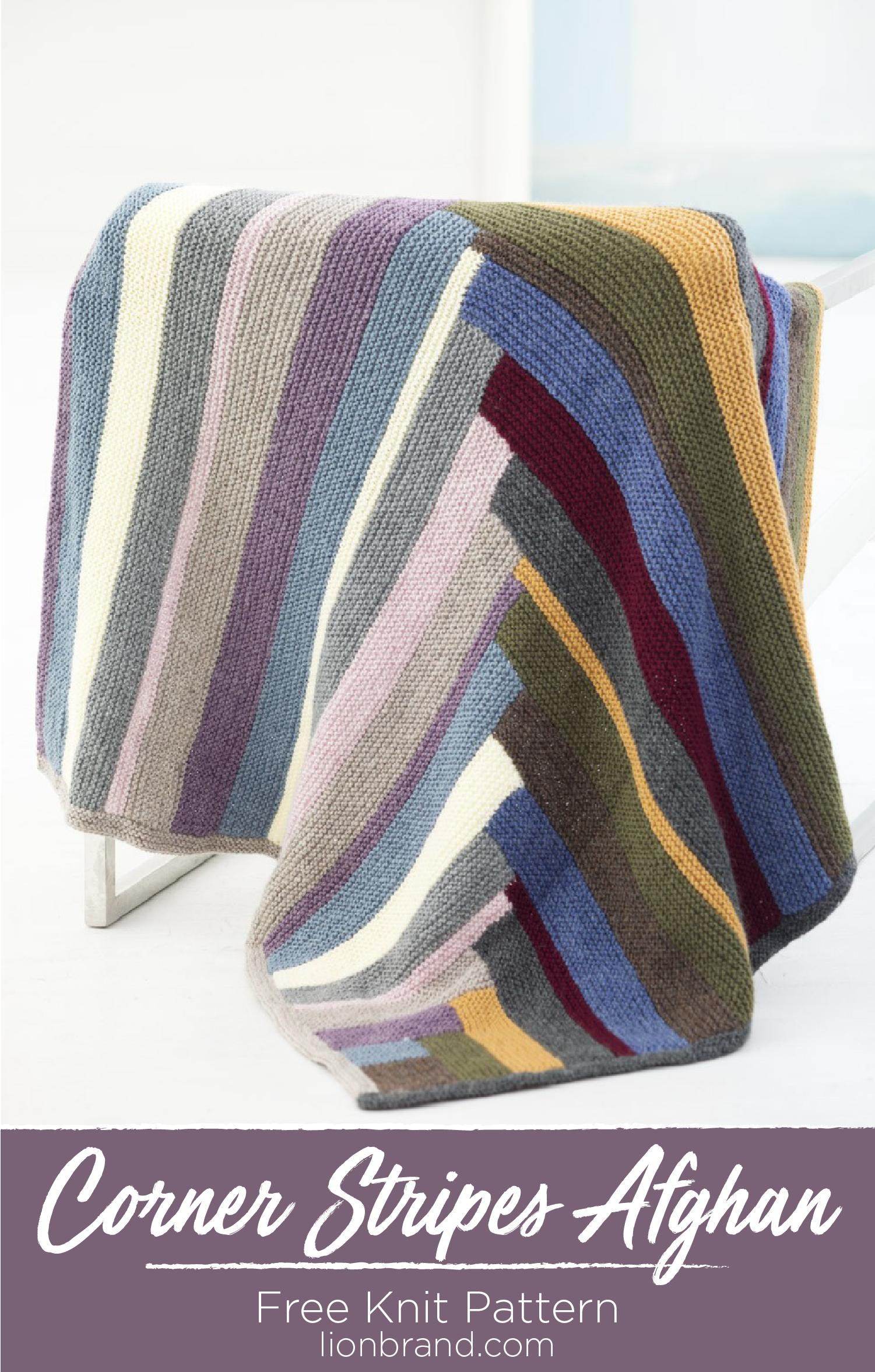 Corner Stripes Afghan Knit Blanket Knitting Patterns No Sew Blankets Knitting Blocking