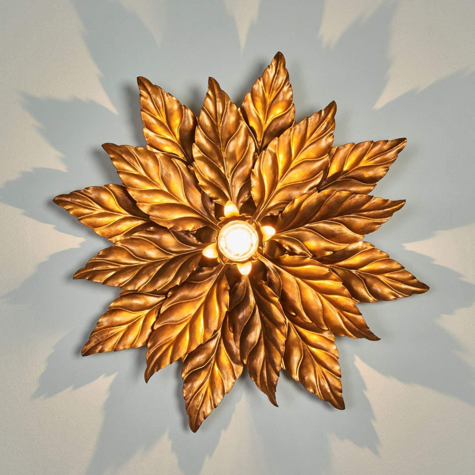 Deckenleuchte Antik Mit Goldenen Blattern 40 Cm Beleuchtung Decke Deckchen Und Goldene Blatter