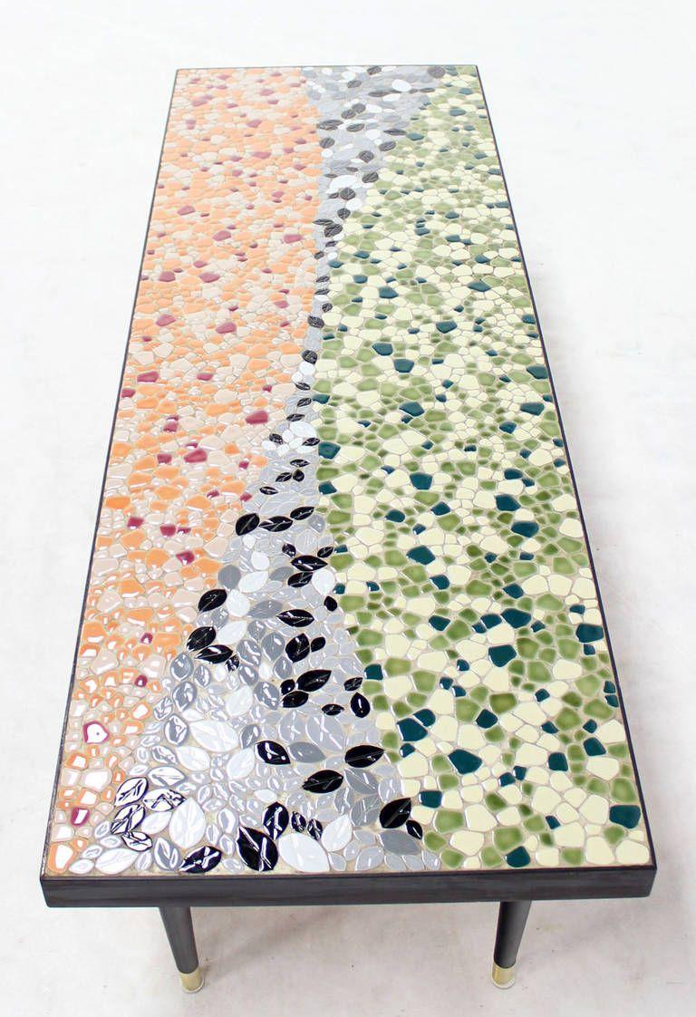 Mid Century Modern Art Mosaic Top Long Rectangular Table 4