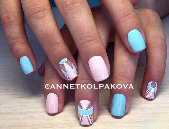 Pastel Pink and Blue Fine Detail Accent Nail