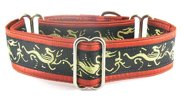 DAELIN'S DRAGONS, A MARTINGALE OR SNAP-BUCKLE DOG COLLAR FEATURING A FABLED GOLDEN DRAGON ON A BLACK MYSTERIOUS SKY. : The Regal Hound - Unique fashionable designer martingale and buckle dog collars, from cute to fancy, humane and soft choke for all canine breeds
