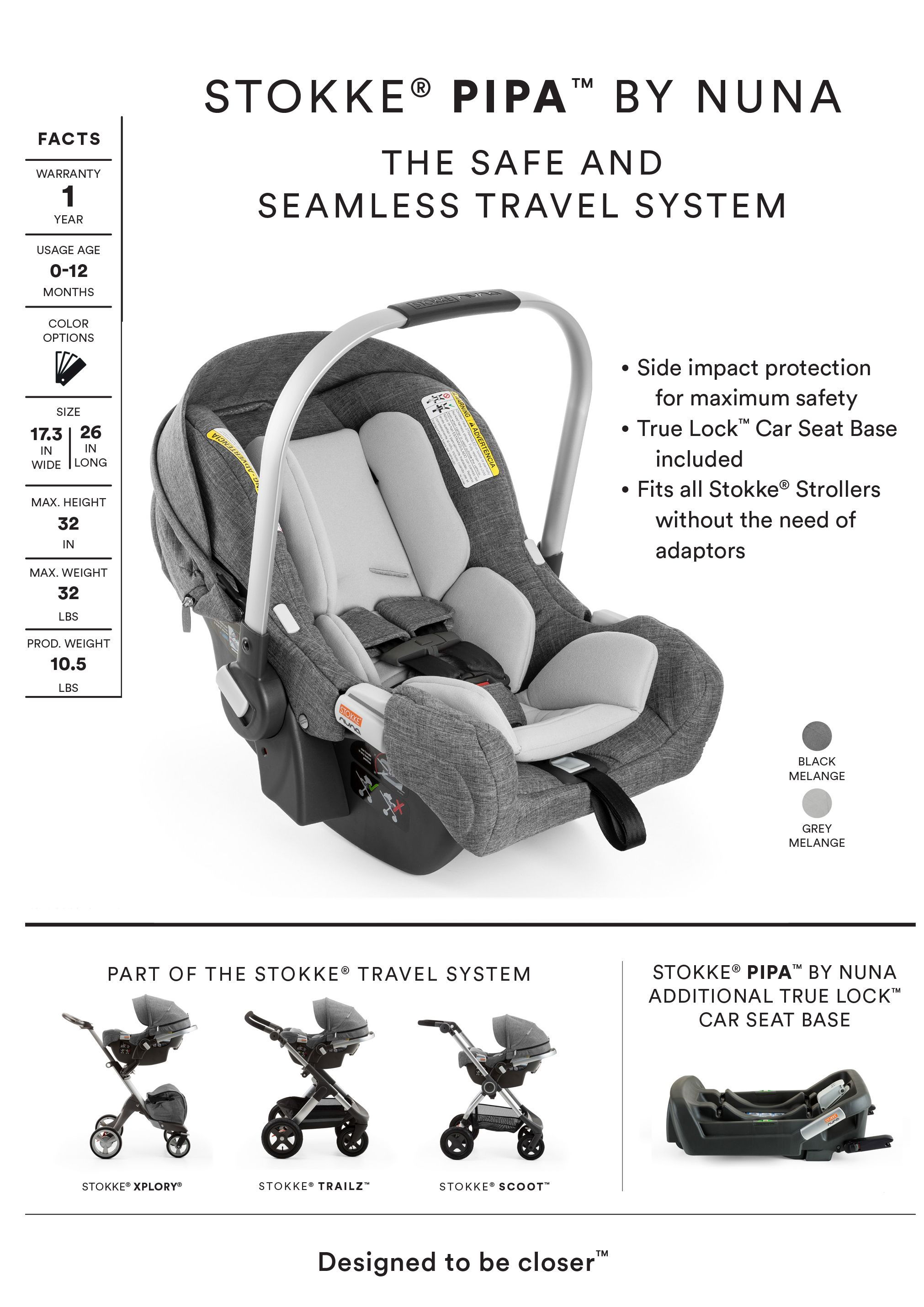 This ultra light car seat includes an adjustable 5 point