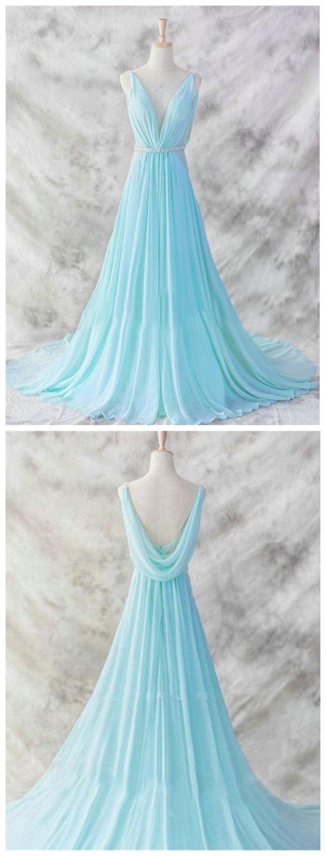 aline deep v simple chiffon cheap long prom dresses evening