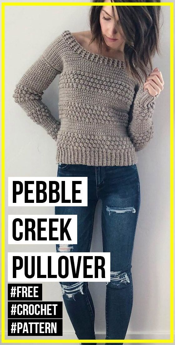crochet Pebble Creek Pullover free pattern #sweatercrochetpattern
