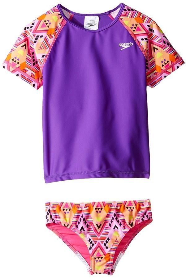 cd5fb36119 Speedo Kids - Short Sleeve Printed Rashguard Two-Piece Swimsuit Set Girl's  Swimwear Sets