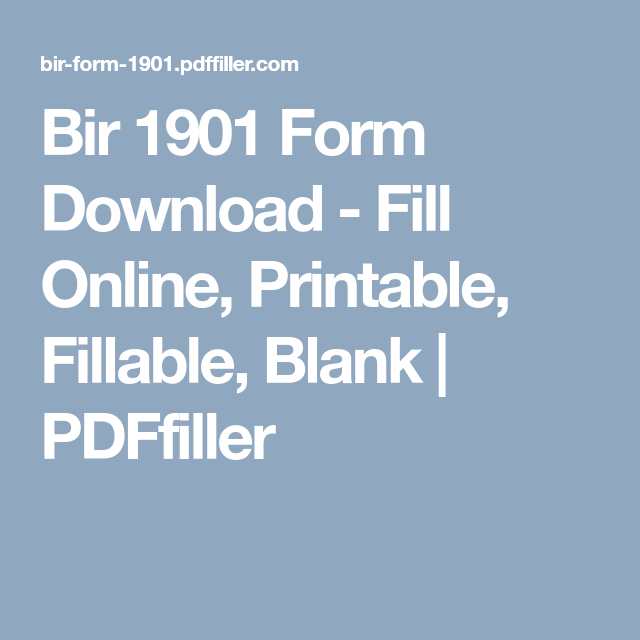 Bir 1901 Form Download - Fill Online, Printable, Fillable