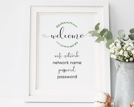 Wedding Website Password Ideas: WIFI Password Sign Printable, Wifi Sign Template, Home