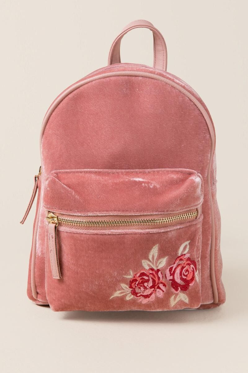 0be36ac0c58 Ashley Rose Embroidered Velvet Mini Backpack