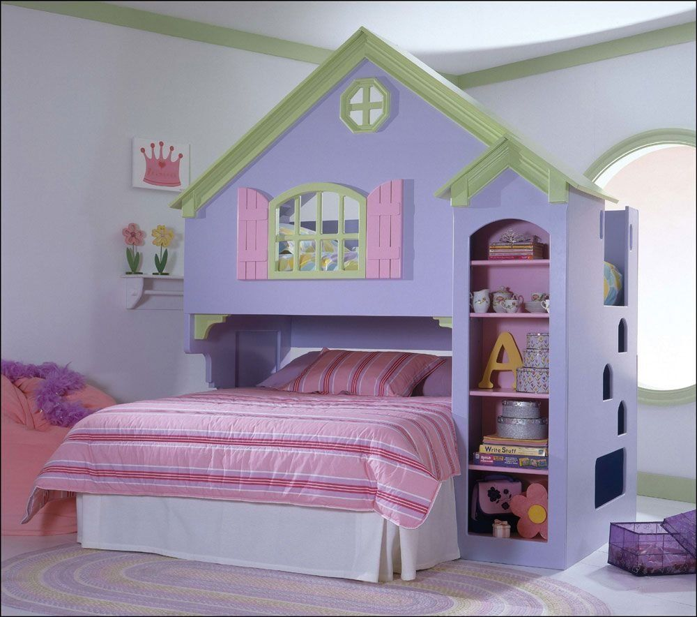 Bunk beds for girls room - Fancy House Loft Bunk Bed Idea For Young Girls Inspired From Barbies House In Sweet Purple