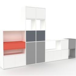 Photo of Regalsystem Weiß – Regalsystem: Schubladen in Rot & Türen in Weiß – Hochwertige Materialien – 306 x