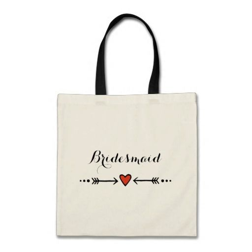 Pink Sweethearts & Arrows Rustic Bridesmaid's Gift Budget Tote Bag
