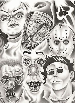 Chucky Tattoo Drawing : chucky, tattoo, drawing, Chucky,, Freddy,, Jason,, Michael, Myers,, Hannibal, Lecter, Chucky, Drawing,, Horror, Movie, Drawings