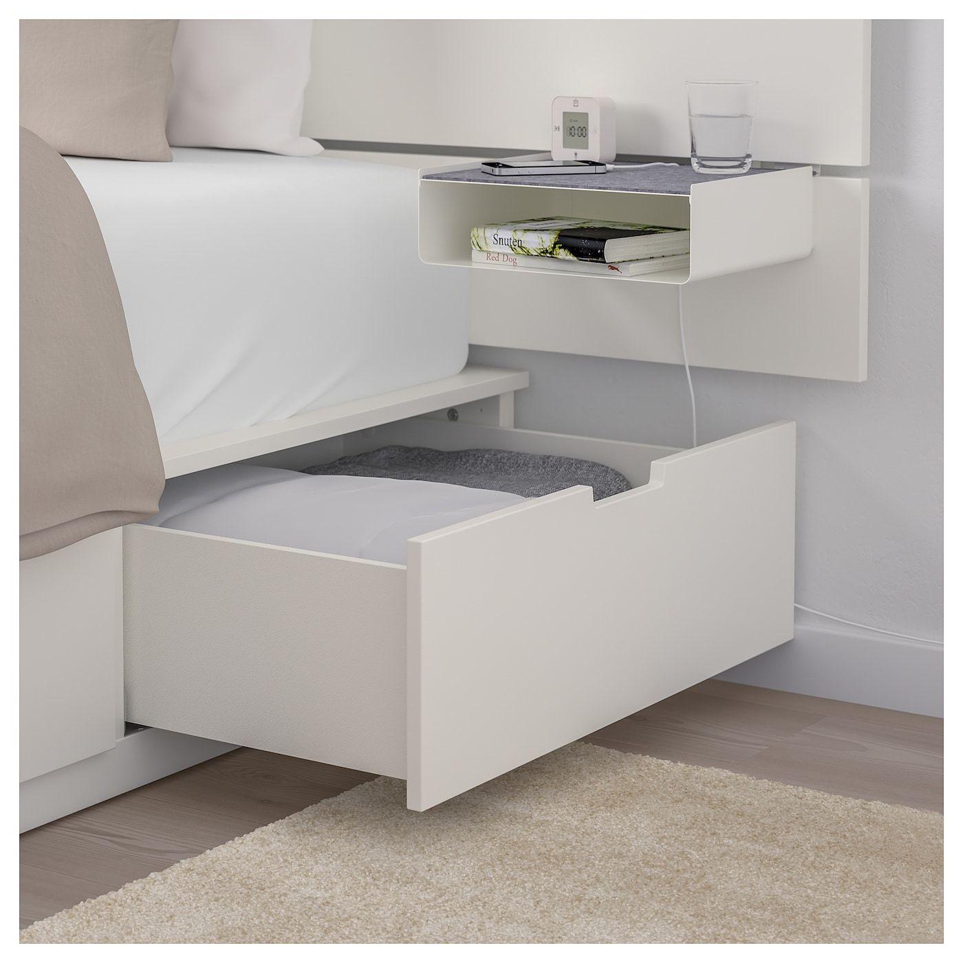 Nordli Cadre De Lit Rangement Tete De Lit Blanc 140x200 Cm