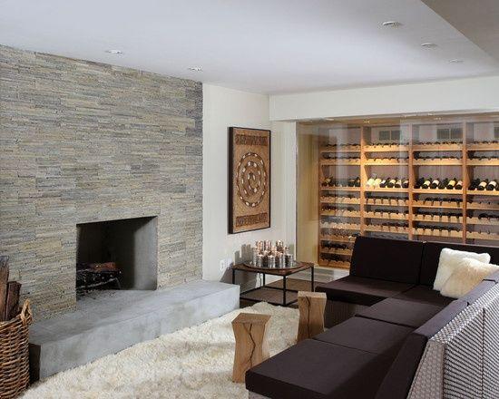 un mur rev tement en pierre naturelle dans le salon murs de pierre pierre naturelle et la. Black Bedroom Furniture Sets. Home Design Ideas