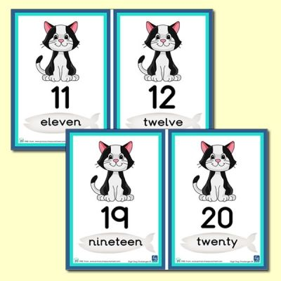 Calculating Cat Themed Number Line 11 To 20 Math Challenge Number Line Cat Theme