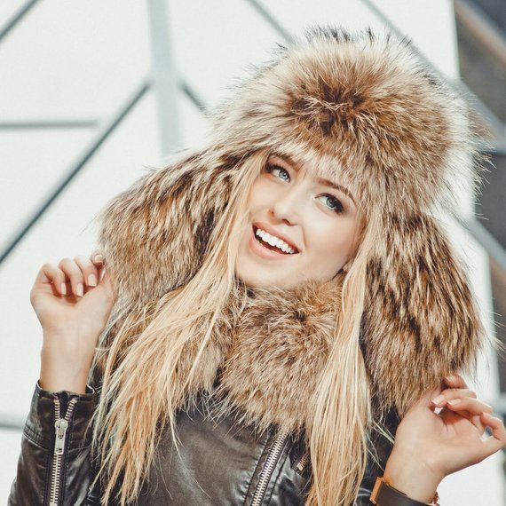 bff53a240e947 Real raccoon fur hat for women Russian ushanka hat Fur trapper hat Luxury  Christmas gift for wife Re
