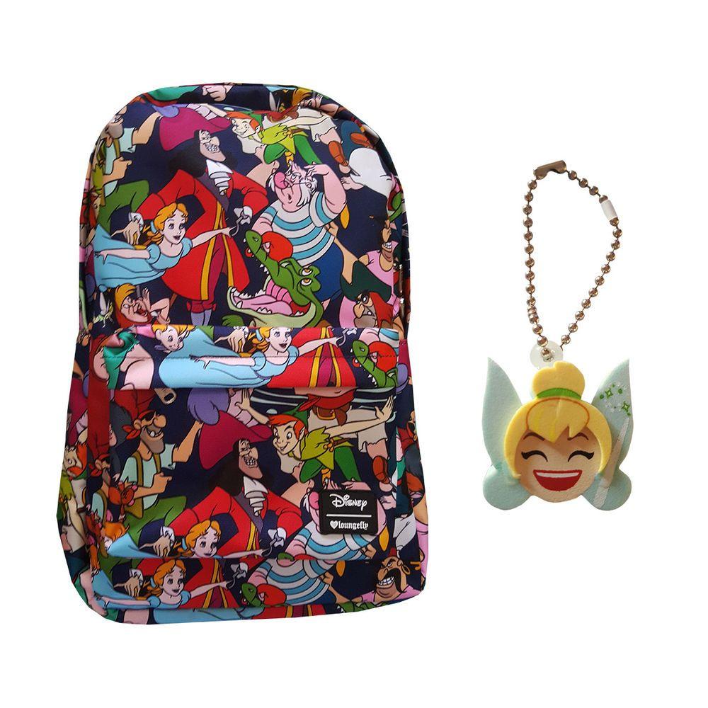 25e0b2a65e2 Disney Peter Pan School Backpack by Loungefly BONUS Tinkerbell Emoji  Keychain  Disney  Backpack