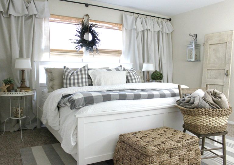The Easiest Curtains You Ll Ever Hang By An Inspired Nest Farmhouse Style Bedroom Decor Modern Farmhouse Style Bedroom Modern Farmhouse Bedroom