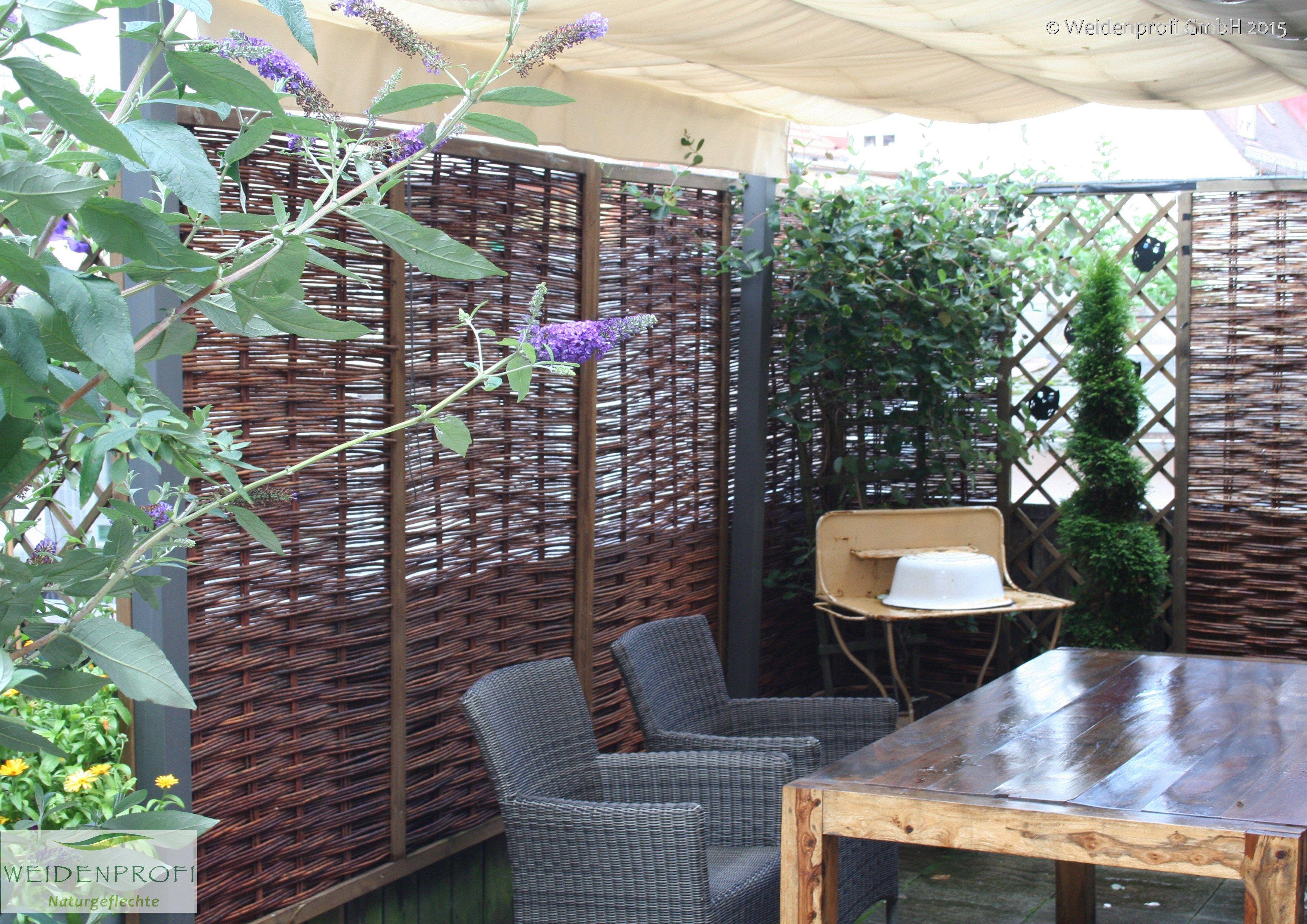 Flechtzaun Weide CIRO Sichtschutz für Balkon