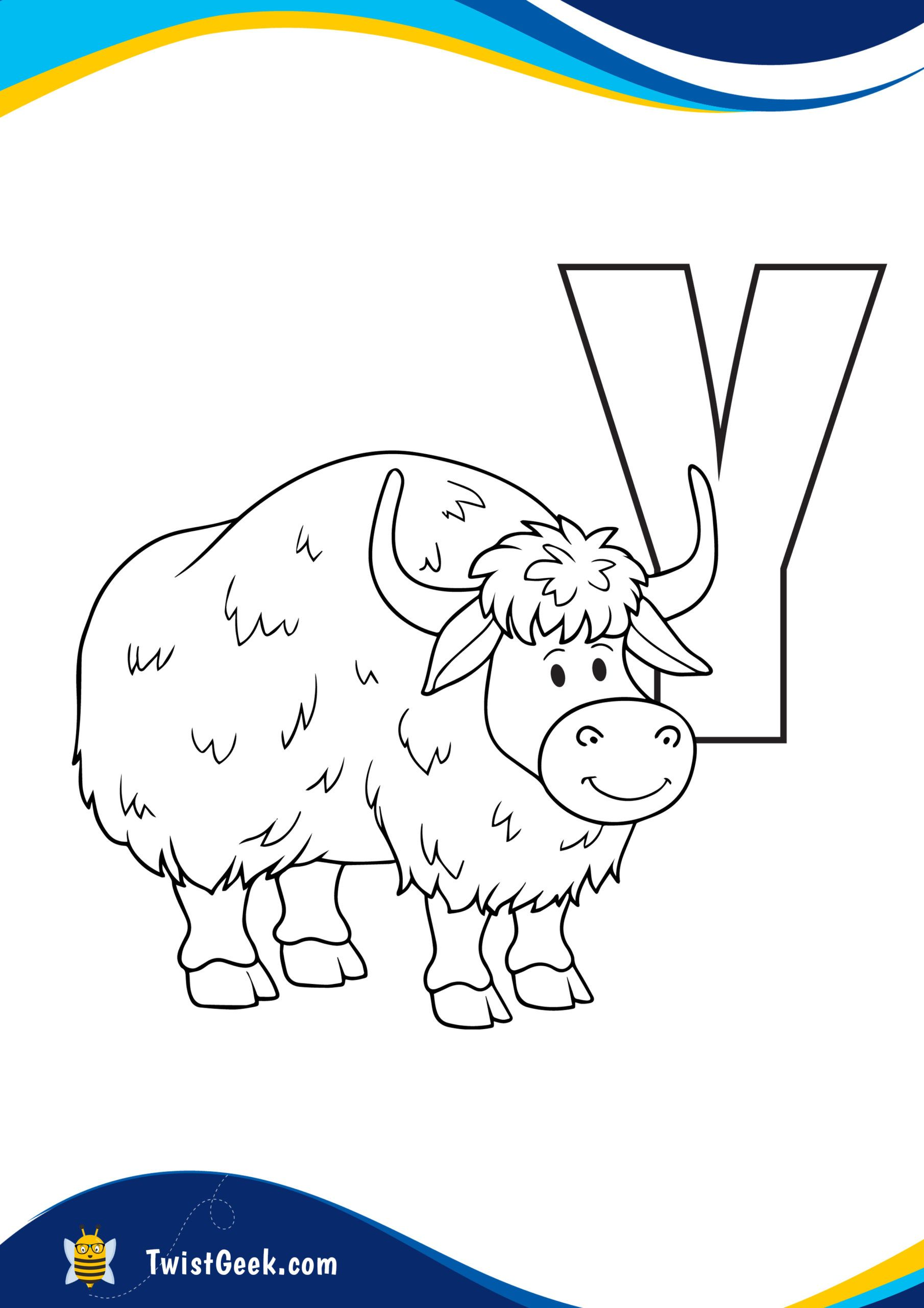 Printable A4 Letter Y Is For Yak Coloring Page Coloring Pages