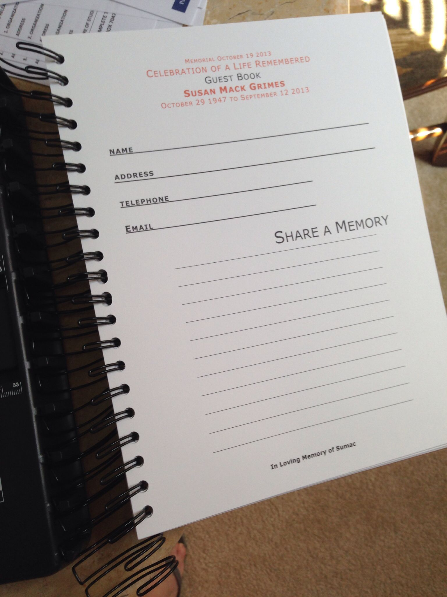 Memorial Service guest book in the making. | celebration of life ...