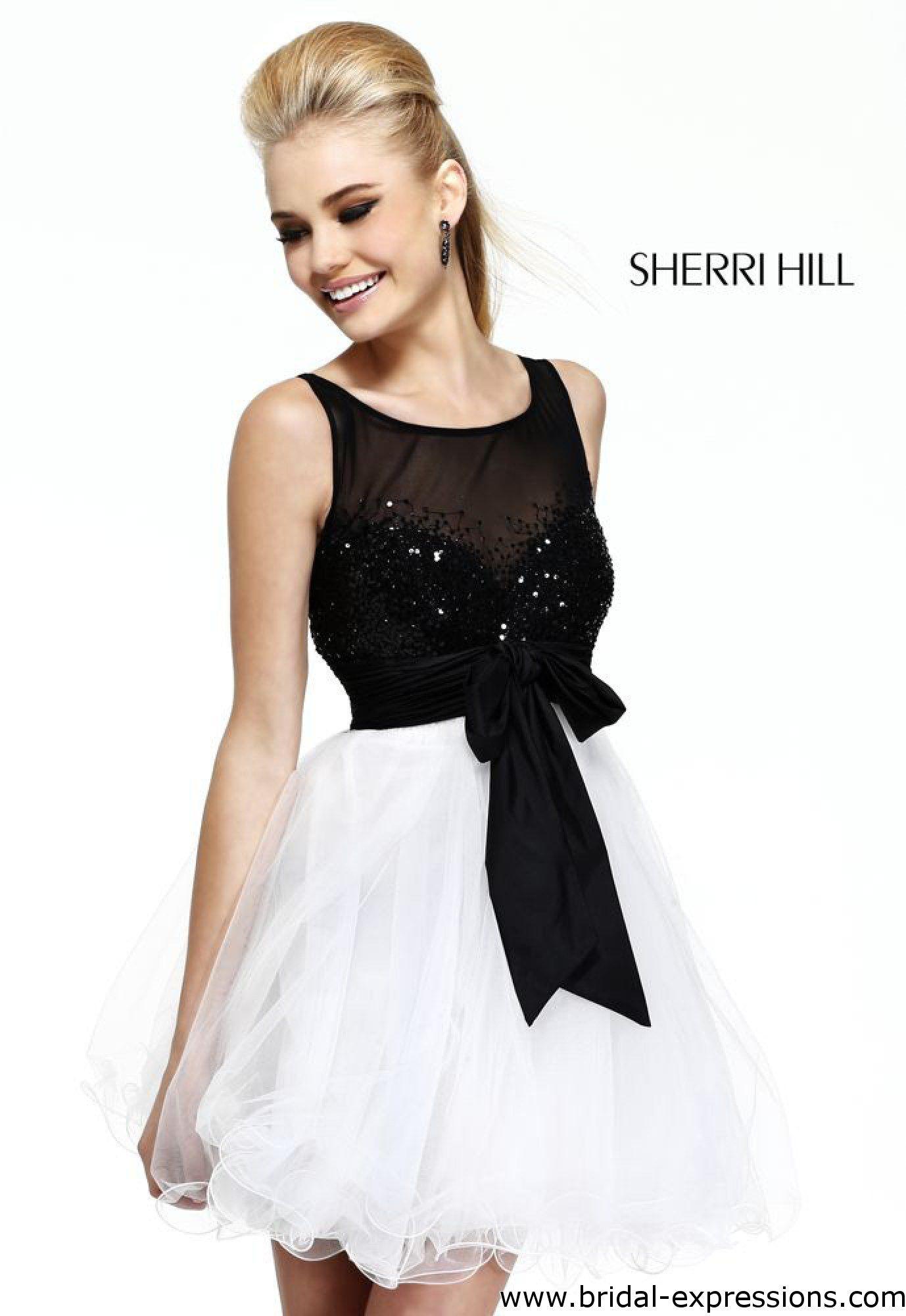 Sherri hill short homecoming dress available in blackhotpink