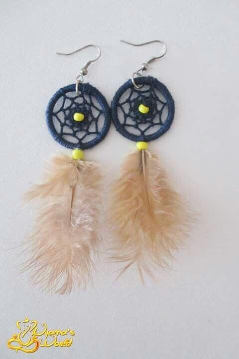 #earrings #dreamcatcher #blue #yellow