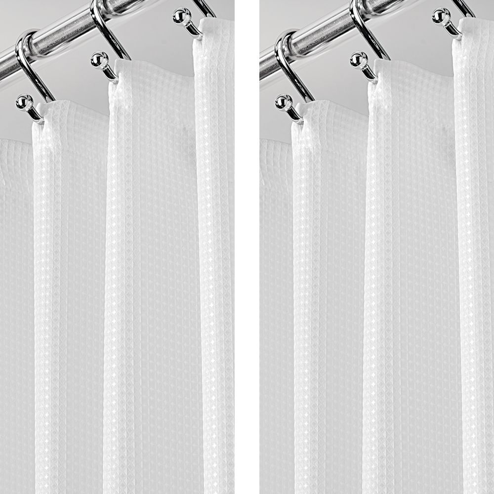 X Wide Waffle Weave Fabric Shower Curtain 108 X 72 Fabric