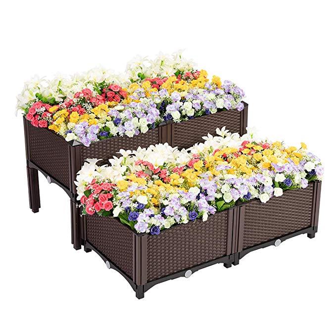 VIVOHOME Elevated Plastic Raised Garden Bed