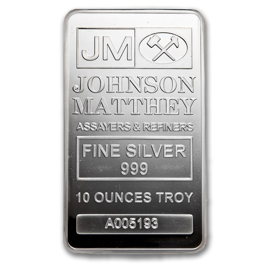 10 Oz Silver Bar Johnson Matthey Silver Bars Silver Bullion Silver Investing