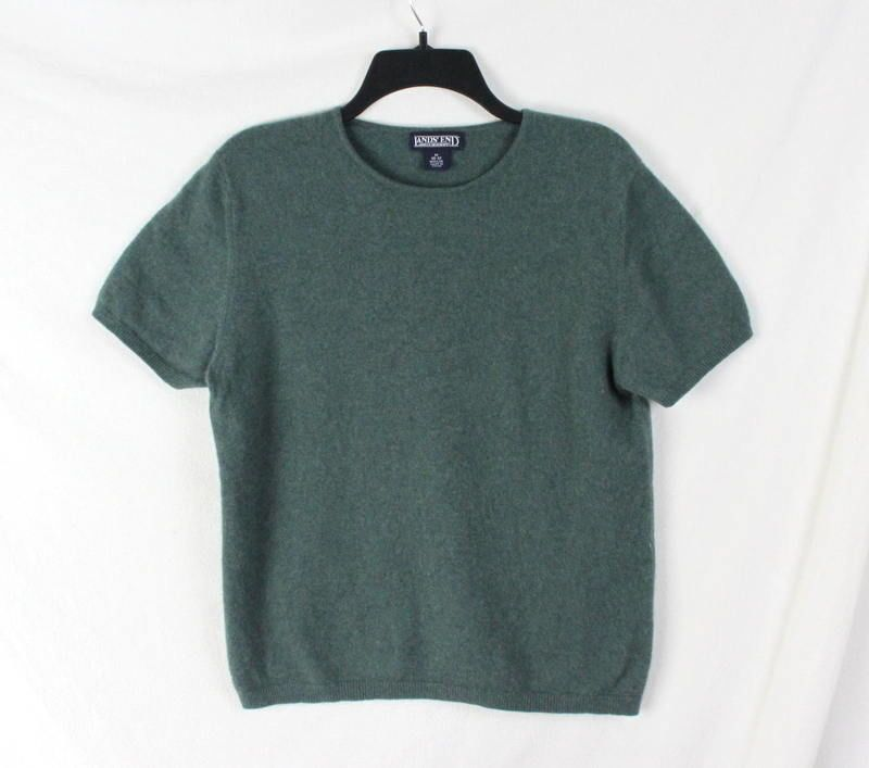 Lands End Cashmere Sweater M 10 12 size Womens Green Short Sleeve All Season #LandsEnd #Crewneck