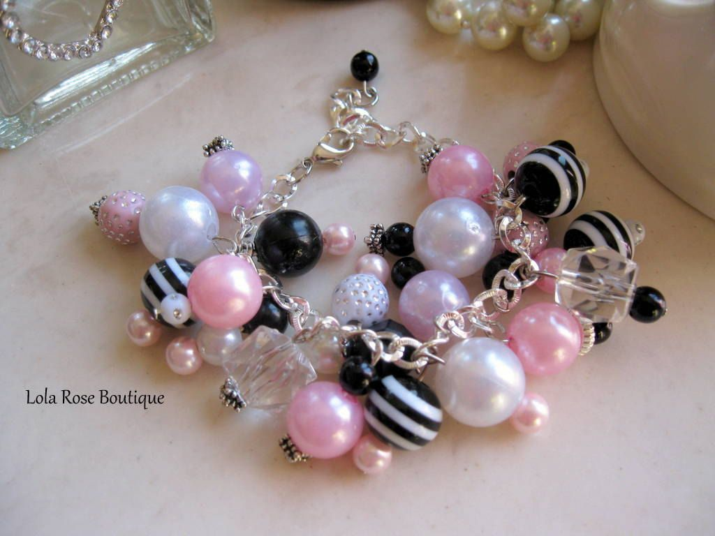 Girls charm braceletparis chicchunky charm braceletready to ship