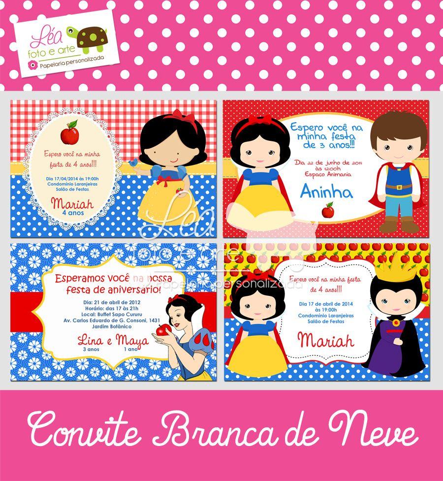 Convites Festa Branca de Neve. 10x15cm, contato: leafotoearte@gmail.com