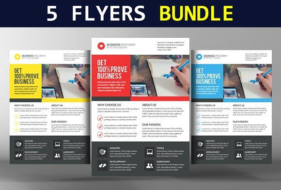 5 Business Conference Flyers Bundle by Business Templates on - conference brochure template