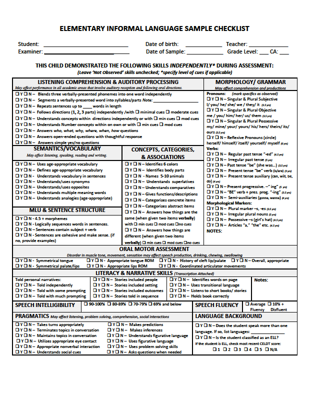 elementary informal language sample checklist this checklist records for all areas of language as well