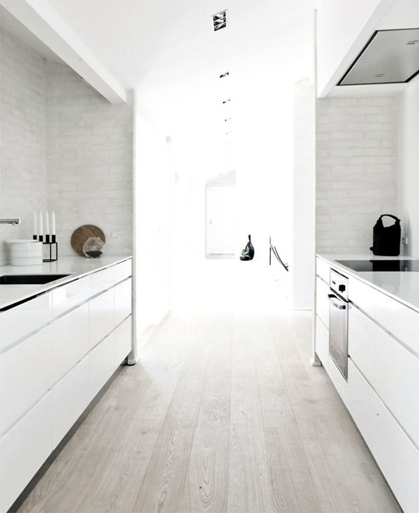 Galley Kitchen Flooring Ideas: Nice Galley Kitchen. White Finger Pull Drawers. Thin Bench Top. Bagged Brickwork Splash Back