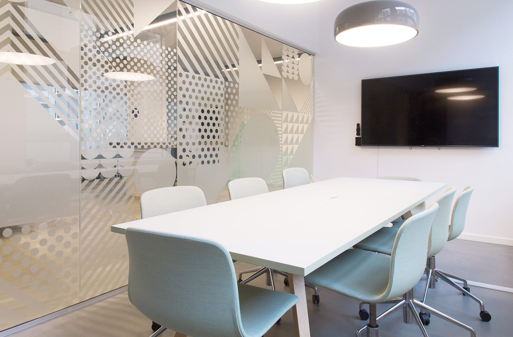 Meeting Room Design Geometric Pattern In Frosted Glass