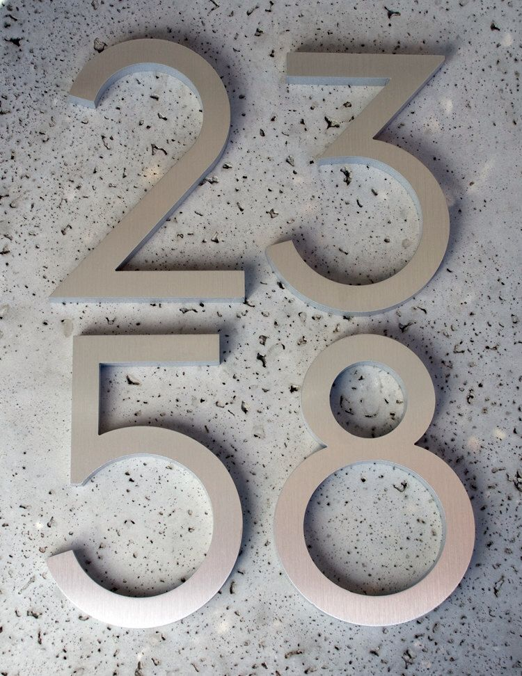 Modern house numbers modern font recycled aluminum set of 4 numbers 8 tall