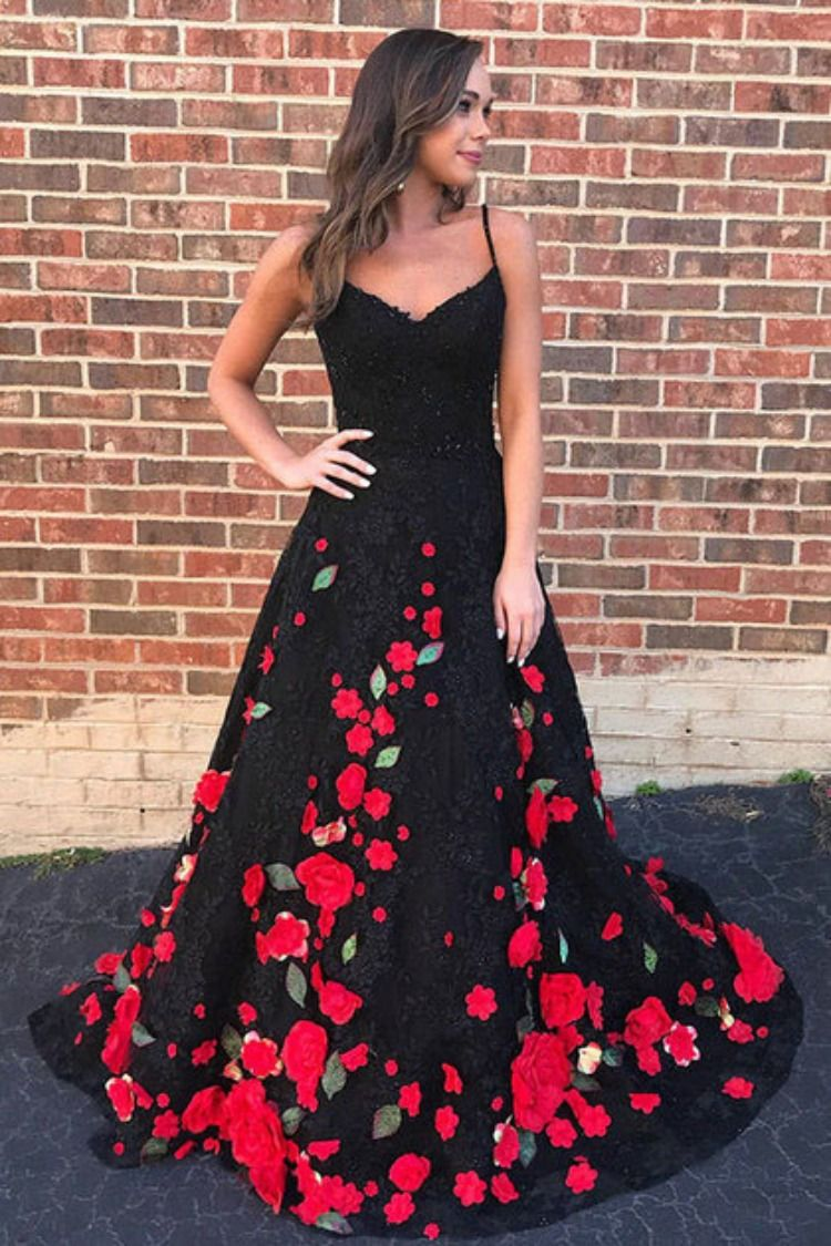 Charming a line spaghetti straps prom dressesblack lace red flowers