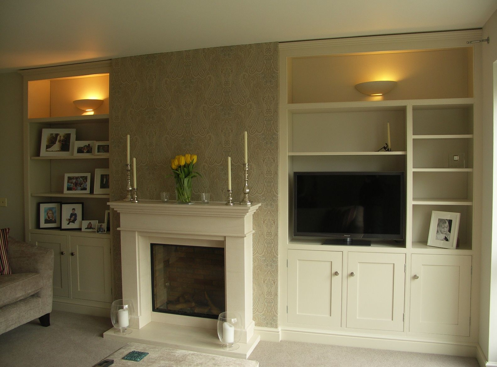Make Use Of Your Chimney Alcoves By Fitting Them Out With Some Stylish Painted Bookcases And Cupboards Painted In Far Home Alcove Shelving Living Room Designs