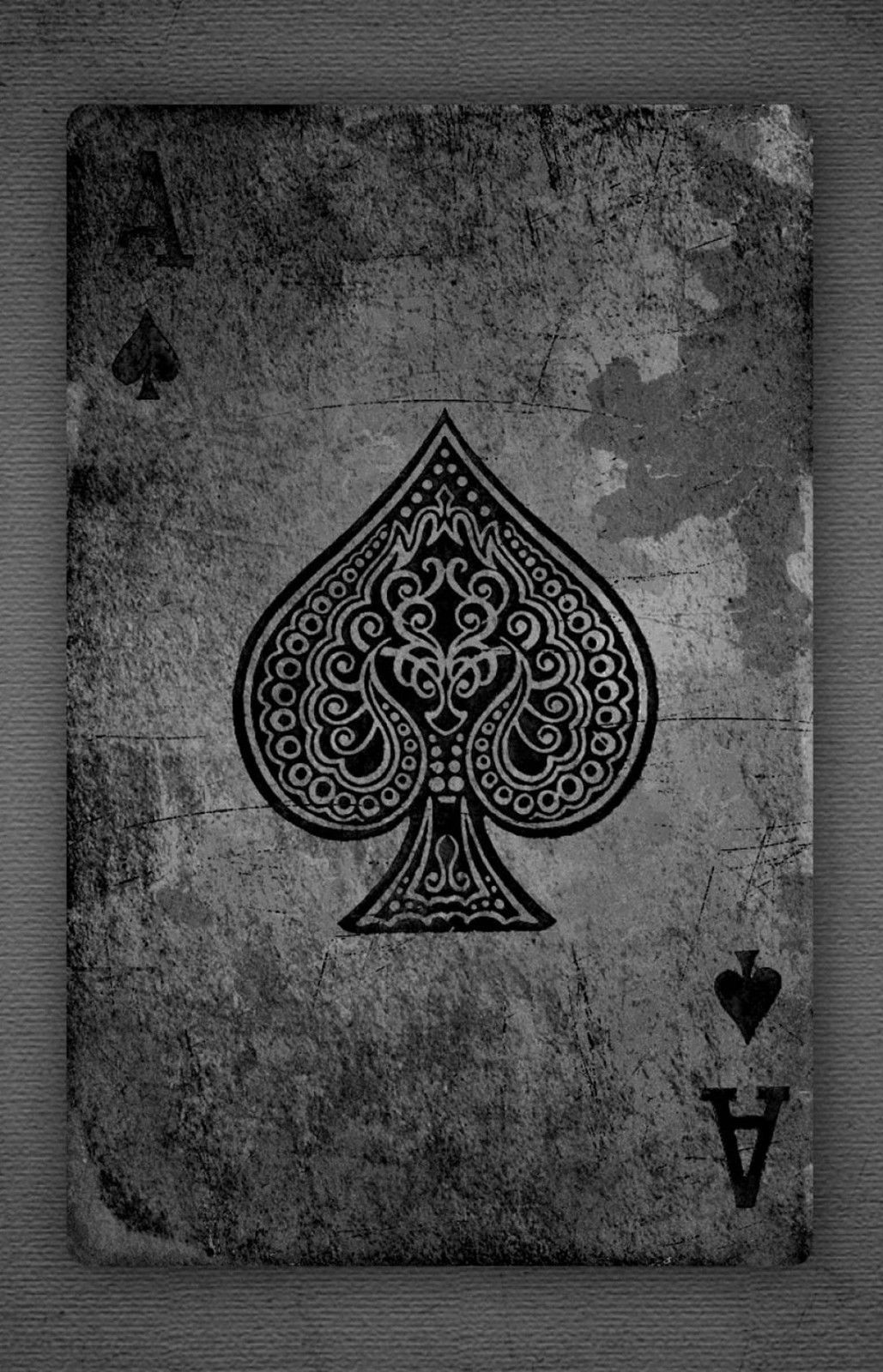 spade card background  A6 Poster - Black and White Vintage Ace of Spades Playing ...