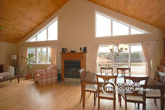 Cathedral Ceiling With Big Windows And Gorgeous View Vaulted Ceiling Living Room Cathedral Ceiling Living Room Drummond House Plans