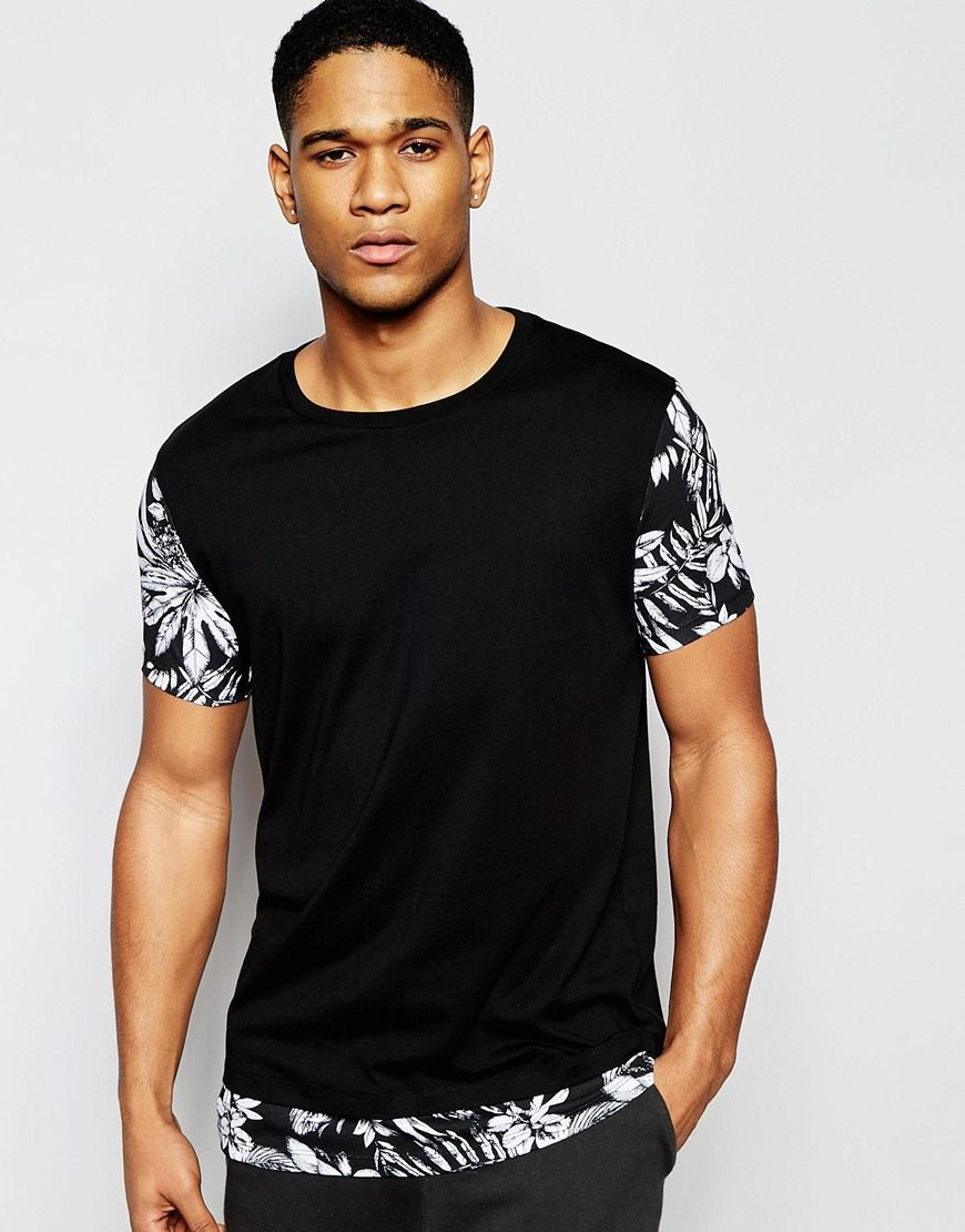 Image 1 of ASOS Longline T-Shirt With Floral Sleeves And Hem
