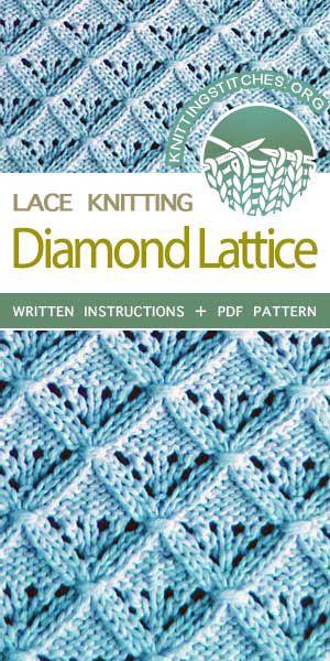 Diamond Lattice Knitted Pattern Stitches Pinterest Stitch