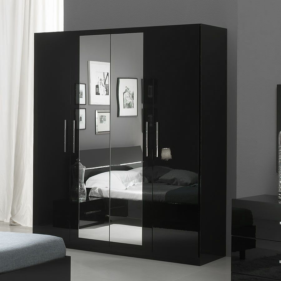 Armoire Noire Laquée Avec Miroirs Design ELEGANCE
