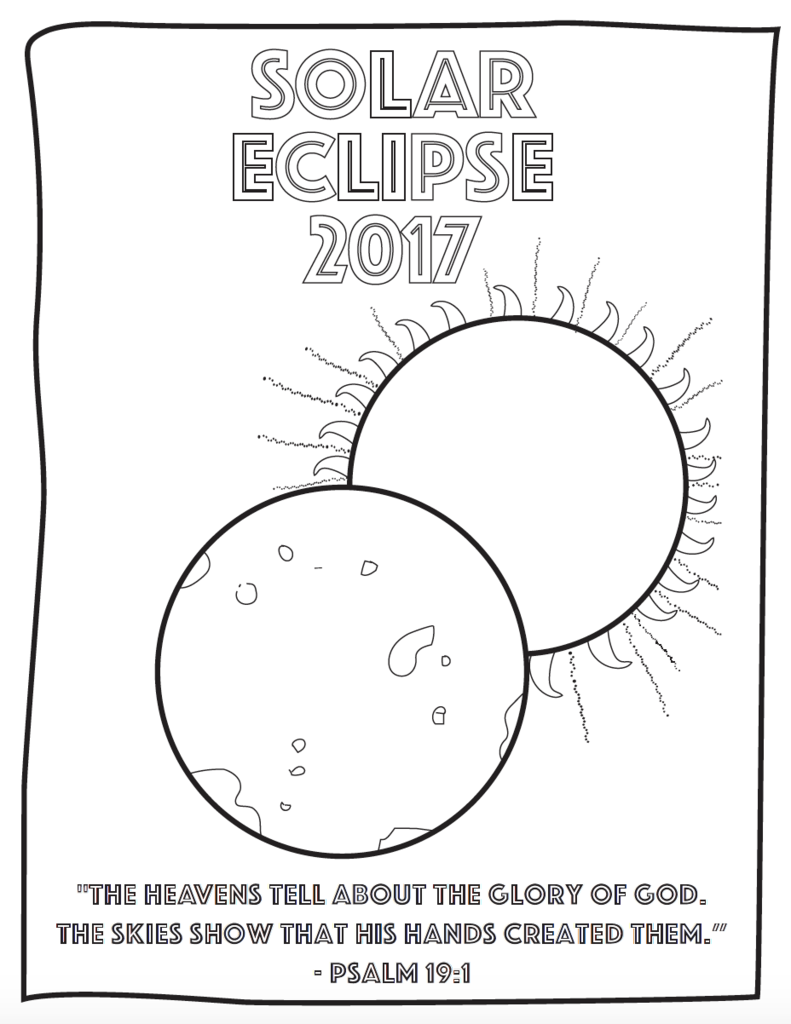free eclipse coloring page with bible verse for kids
