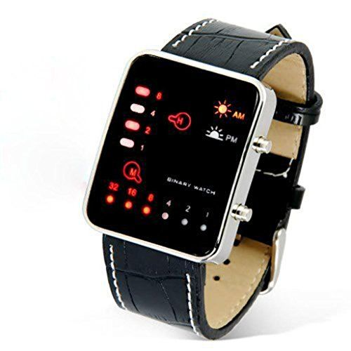 """Dreaman Digital Red LED Sport Wrist Watch Binary Wristwatch PU Leather Women Mens. Red and yellow LED digital watch. water resistant. Vertical and horizontal LED lights for time and date. displayed in binary code. Size: 9.5"""" x 1"""" (band)."""