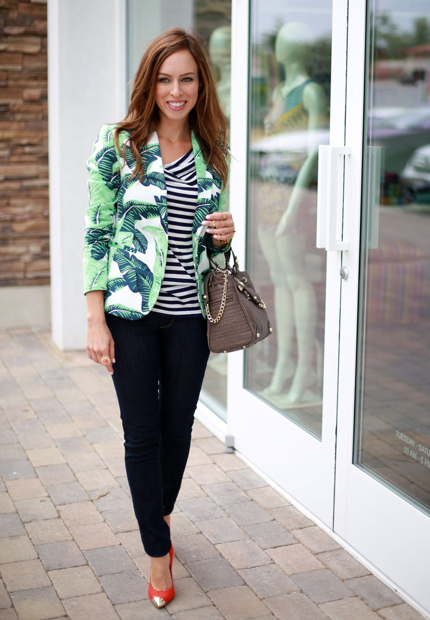 Sydne Style nautical navy white stripes Bird Juicy Couture dark skinny jeans